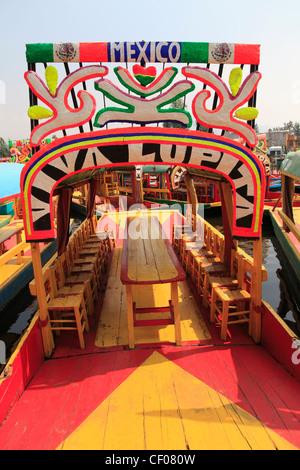 Xochimilco, Boats, Trajinera, Floating Gardens, Canals, UNESCO World Heritage Site, Mexico City, Mexico - Stock Photo