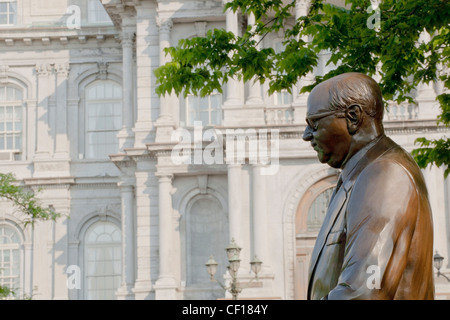 Statue Of Mayor Jean Drapeau With Montreal City Hall In The Background; Montreal Quebec Canada - Stock Photo