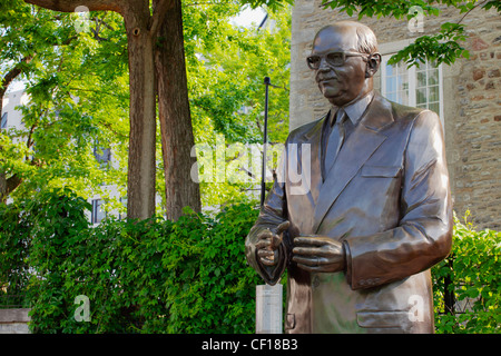 Statue Of Mayor Jean Drapeau In Old Montreal; Montreal Quebec Canada - Stock Photo