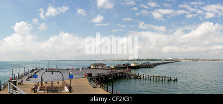 A panoramic view of Southend Pier, the longest pleasure pier in the world. - Stock Photo