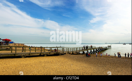 People on Jubilee Beach at Southend-on-Sea. - Stock Photo