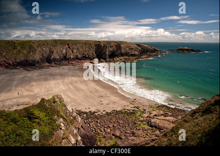 Beach at Caerfai Bay, Pembrokeshire - Stock Photo