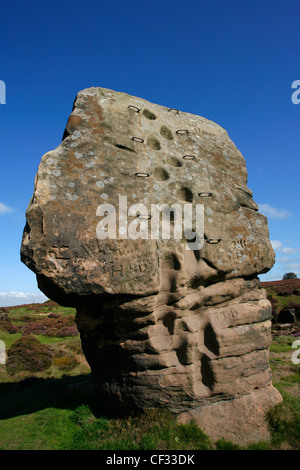 The Cork Stone on Stanton Moor in the Peak District National Park. - Stock Photo