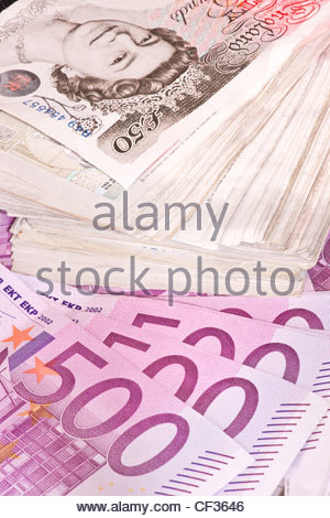 Banknotes cash money pounds pound sterling Euro Euros Eur - Stock Photo