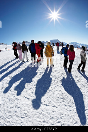 Skiers In La Plagne French Alps - Stock Photo