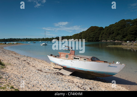 The pretty little harbour at Red Wharf Bay on the Isle of Anglesey in Wales. - Stock Photo