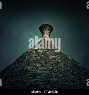 the roof of a trullo - a typical house in Puglia - Stock Photo