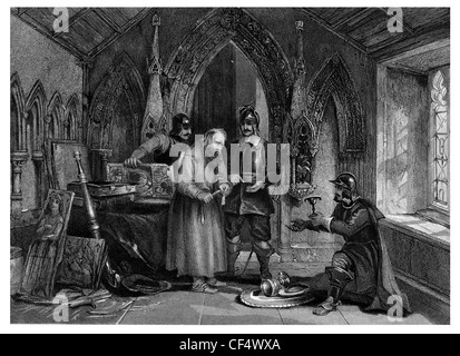 Puritan soldiers Plunder a Monastery - Stock Photo