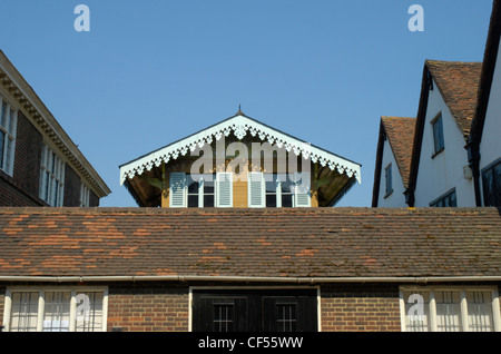 View of the top of Charles Dickens chalet in Rochester High Street. - Stock Photo
