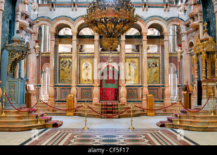 The Catholicon is the church at the center of the Church of the Holy Sepulchre in Jerusalem, Israel. - Stock Photo