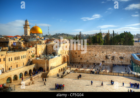 Old City of Jerusalem, Israel at the Western Wall and Temple Mount. - Stock Photo