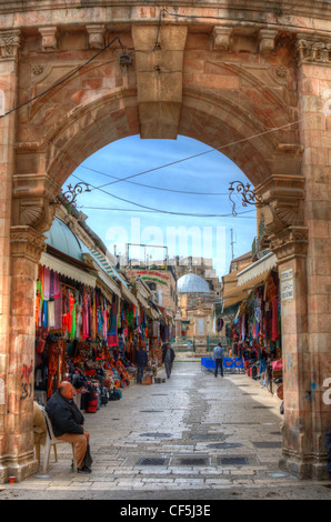 Suq Aftimos at the Muristan of the Christian Quarter in the Old City of Jerusalem. - Stock Photo