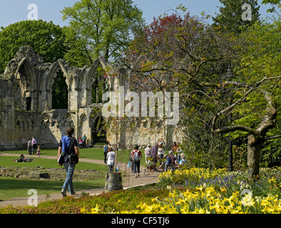 People walking in Yorkshire Museum Gardens past the ruins of the Abbey of St Mary, once the richest abbey in the - Stock Photo
