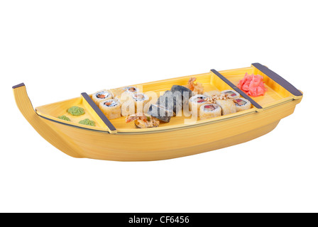 japanese cuisine of wooden ship with various type of sushi on a white - Stock Photo