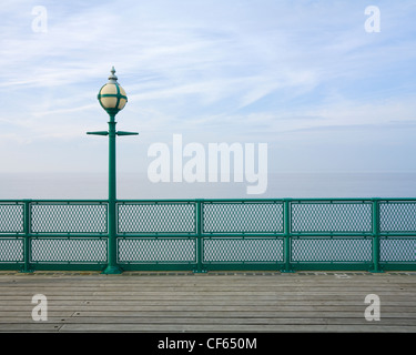 Lampost, railing and decking on Clevedon Pier, the only fully intact, Grade 1 listed pier in the country. - Stock Photo