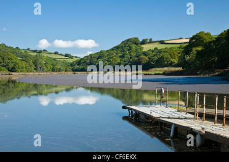 Reflections in the River Lynher on the Tamar estuary. - Stock Photo