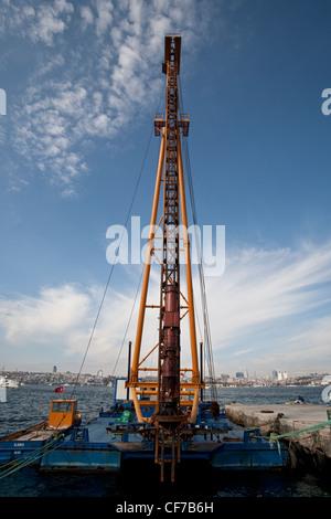 Floating Pile Driver Crane Istanbul Turkey November 2011 - Stock Photo