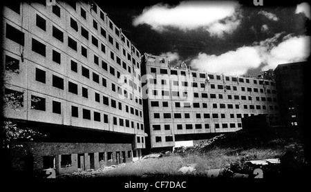 Concrete Deck Access Council Housing ready for demolition, East Manchester , Lancashire, England, UK with dramatic - Stock Photo