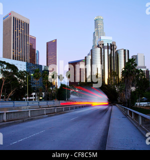 The 110 Harbour Freeway and Downtown Los Angeles skyline, California, United States of America - Stock Photo