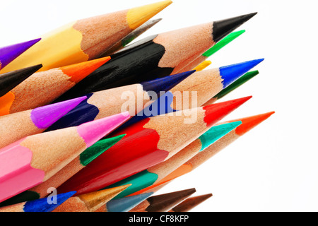 many different colored pens. colored pencils isolated on a white background. - Stock Photo
