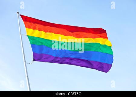 Gay Pride Rainbow Flag, San Francisco, California - Stock Photo