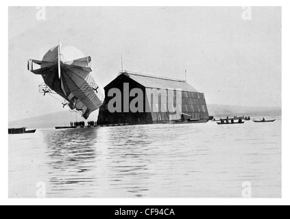 German Zeppelin with floating shed at Friedrichshafen Lake Constance military air base aircraft balloon Imperial - Stock Photo