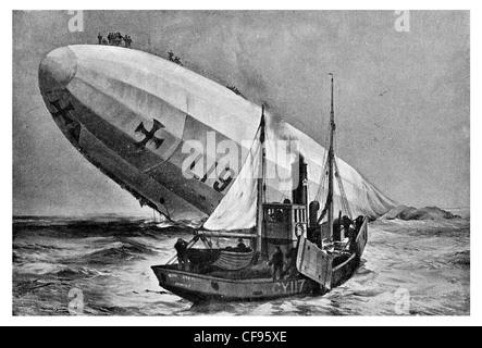 Sinking of airship Zeppelin L19 North Sea German Kaiserliche Marine Imperial Navy North Sea British fishing boat - Stock Photo