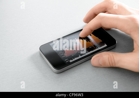 Hand touching stock market chart on mobile smart phone. - Stock Photo