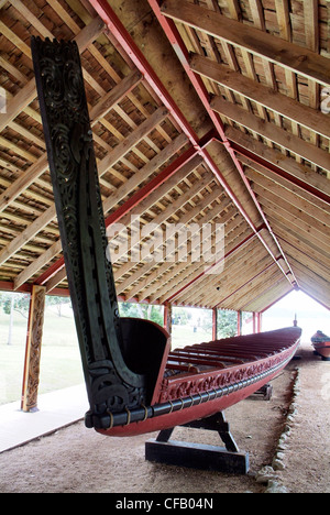 New Zealand, North Island, Bay of Islands, Waitangi Treaty Grounds, Ngatokimatawhaorua ceremonial waka (canoe) - Stock Photo
