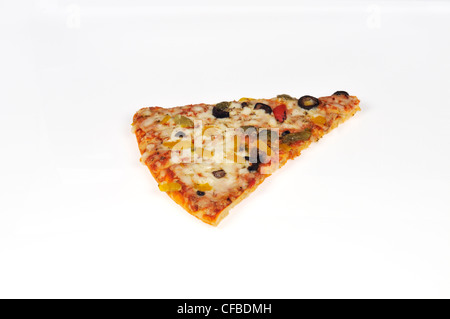 Cooked pizza slice with vegetables and melted cheese toppings on white background cut out - Stock Photo