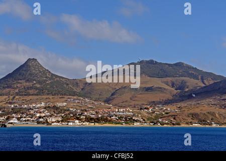 Europe, Portugal, Porto Santo, Vila Baleira, Pico do Castelo, Pico do Facho, island capital, mountains, buildings, - Stock Photo