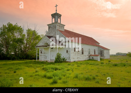 Abandoned church, Courval, Saskatchewan, Canada. - Stock Photo