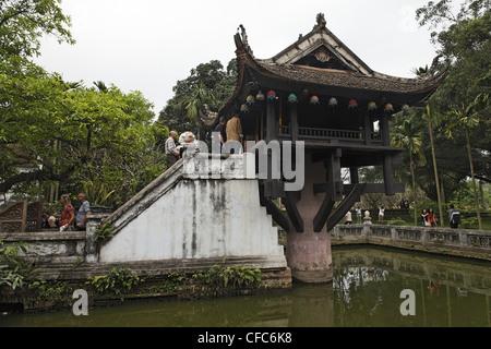 One Pillar Pagoda (Chua Mot Cot), Hanoi, Bac Bo, Vietnam - Stock Photo