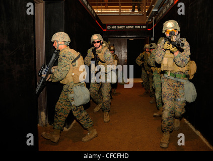 CAMP RODRIGUEZ, Republic of Korea (March 7, 2012) Marines assigned to assigned to 2nd Platoon, Company Pacific, - Stock Photo