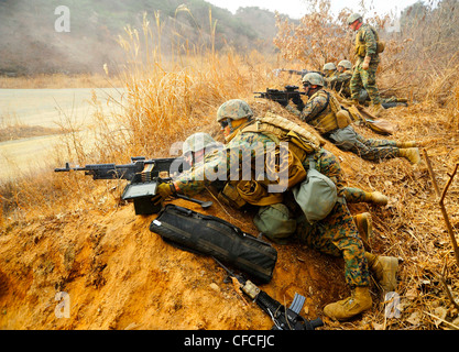 CAMP RODRIGUEZ, Republic of Korea (March 4, 2012) Marines assigned to assigned to 2nd Platoon, Company Pacific, - Stock Photo