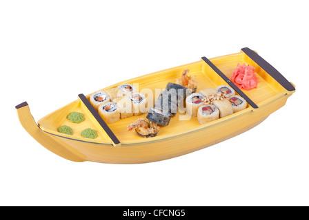 sushi ship isolated on a white background - Stock Photo