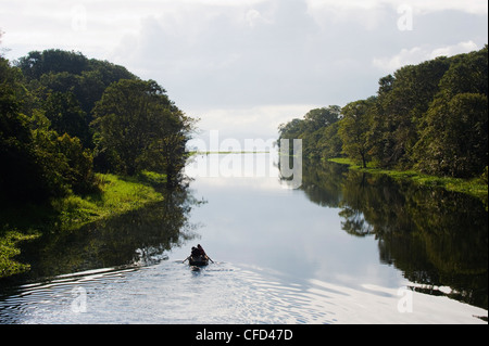 Boat on Lago de Yojoa, Lake Yojoa, Honduras, Central America - Stock Photo