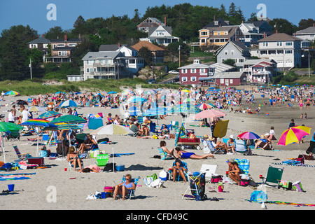 People on Beach, Good Harbor Beach, Gloucester, Cape Ann, Massachusetts, United States of America - Stock Photo