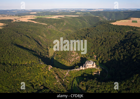 Aerial view of Eltz castle above the Moselle river, Muenstermaifeld, Eifel, Rhineland Palatinate, Germany, Europe - Stock Photo