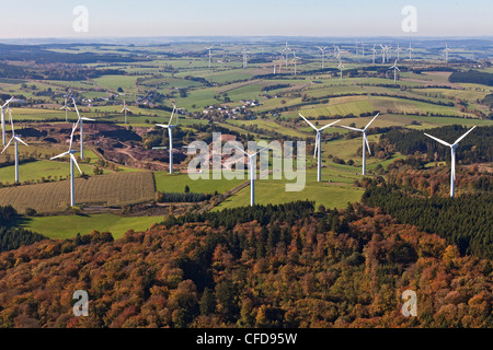 Aerial view of wind wheels at wind turbine park Ormont, Eifel, Rhineland Palatinate, Germany, Europe - Stock Photo