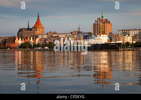 View over Warnow river to the Old Town and St Mary´s church, Rostock, Baltic Sea, Mecklenburg Western-Pomerania, - Stock Photo
