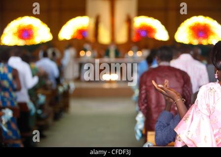 Catholic Mass in Lome, Togo, West Africa, Africa - Stock Photo