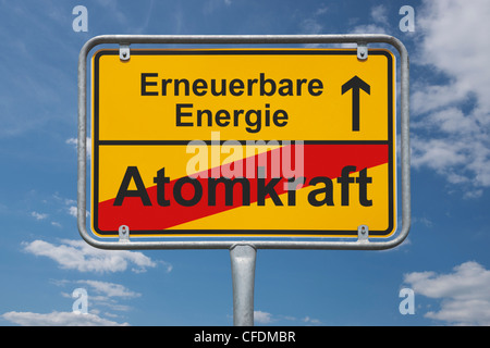 Town sign Germany, End of the town with the inscription end of nuclear power, beginning renewable energy, background - Stock Photo