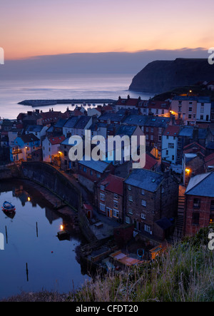 Dawn from Cowbar overlooking the beautiful village of Staithes, North Yorkshire, Yorkshire, England, United Kingdom, - Stock Photo