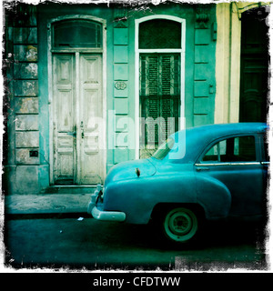 Classic American car, Havana, Cuba, West Indies, Caribbean, Central America - Stock Photo