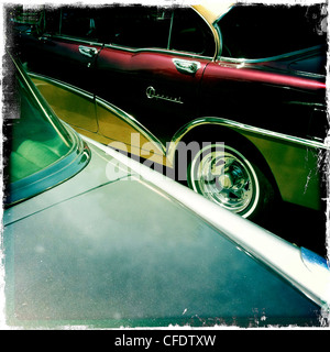 Abstract images of two classic American cars, Havana, Cuba, West Indies, Central America - Stock Photo
