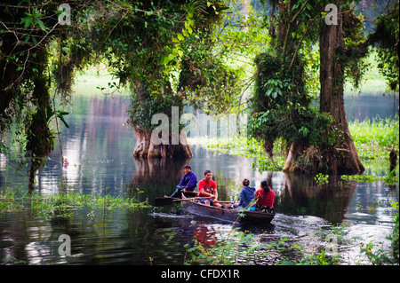 Boat on Lago de Yojoa (Lake Yojoa), Honduras, Central America - Stock Photo