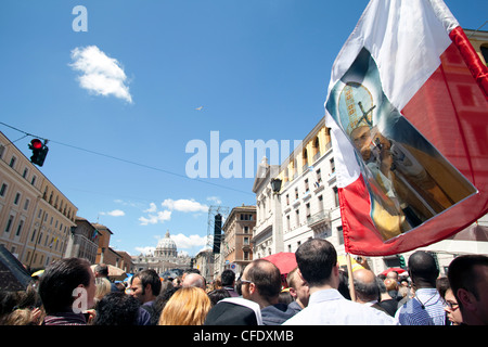 Via della Conciliazione during the Beatification of Pope John Paul II, Rome, Lazio, Italy, Europe - Stock Photo