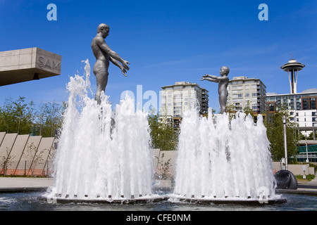 Fountain at Olympic Sculpture Park, Seattle, Washington State, United States of America, - Stock Photo