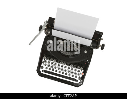 Vintage typewriter with blank paper isolated on white. - Stock Photo